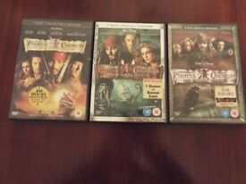 Pre-owned Comedy/Action DVD bundle - Pirates of the Carribean - 3 Double DVD's