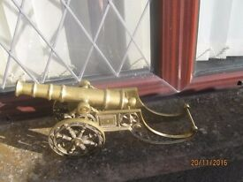 Vintage large brass items - heavy cannon and two tiered plant stand