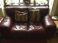 3 x Red Leather 2 Seater Sofas £150 for all 3