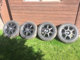 Four set of alloy wheels with good Tyres,