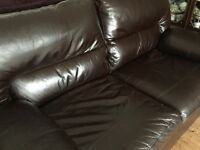 Leather M&S 3 seater sofa with arm storage- excellent condition