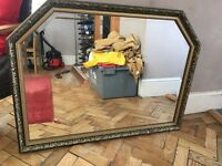 Large old solid mantel mirror with gilded frame & beading