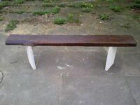 (3)rustic garden bench aprox 6ft very heavy- reclaimed wood- protected weather proof paint