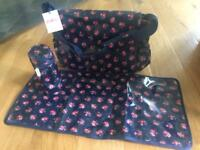 Cath Kidston nappy changing bag with changing mat and bottle holder Brand New