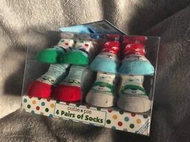 Set of 4 baby socks 0-12 months