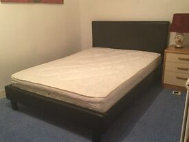 Almost new Faux leather double bed (reduced price)