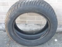 Two part-worn winters tyres - 205/55R16 - one Dunlop, one Lassa