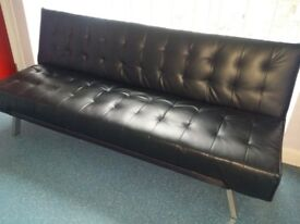 Sofa bed, black faux leather