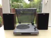 SONY TURNTABLE RECORD PLAYER AND POWERED SURF SOUND SPEAKERS