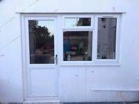 PVC back door and window with top and side opener