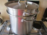 LARGE STAINLESS STEEL STRAINER PAN TWO SIEVES