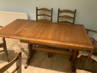 Original Antique Ercol Dining Room Table and 6 Chairs