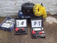 Einhell air compresspr plus two clarke air nailer/staplers