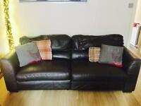 X2 chocolate brown leather sofa's