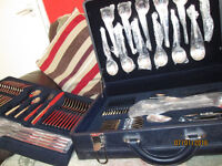 New 84 Piece Suissine Cutlery Set in Leather Case 24ct gold plated