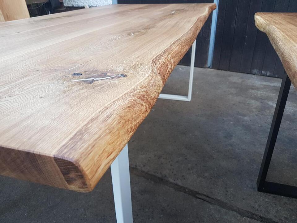 Esstisch Eiche Massivholzplatte 5 5,5 cm Tisch Baumkante rustikal