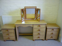 Bedroom Set - pine effect: Wardrobe, Chest of Drawers, Bedside Tables, Dressing Table & Mirror