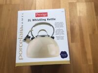 Prestige Enamel Stove Top Kettle - Brand New in Box - Cream