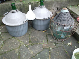 3x large (54L/ 12 gallons) demijohns with baskets. Wine/Cider making.
