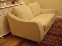 Cream 2 Seater Reid Material Couch