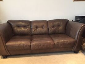 3 piece suite brown leather sofa