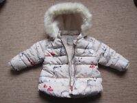 Next cream winter padded jacket - 9-12 months (height 80cm). Immaculate condition £10.
