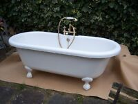 Double Ended Roll Top Bath with Brass Fittings