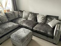 DFS Lustrous Pillow Back Right Hand Facing Arm 3 Seat Corner Sofa & Footstool/Poof