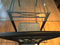 Glass Dining Room Table w/ 6 matching chairs