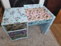 Stag drawer and desk unit- vintage shabby and decoupaged