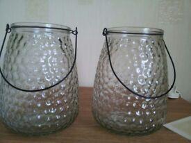 Two lantern jars with handles