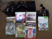 xbox 360 120gb +contollers and extras