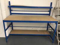 Workshop bench packing station shelves