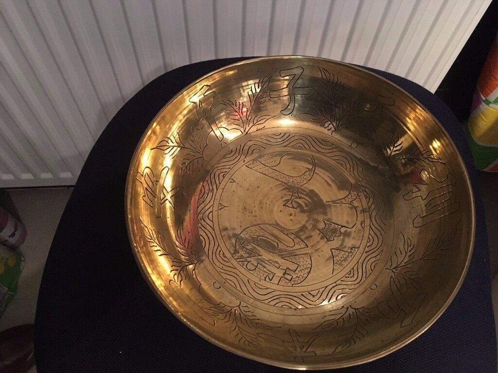 Chinese Decorated Brass Bowl on Wooden Stand