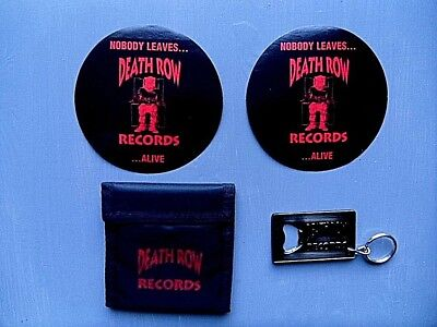 """Death Row Records - RARE Promo Wallet , Keyring / Bottle Opener & 2 5"""" Stickers"""