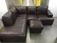 Solid genuine leather L shape sofa •free delivery