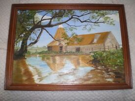 WATER COLOUR PAINTING RURAL SCENE.