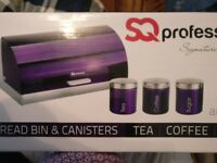 Brand new metallic purple bread bin and cannister set