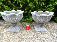 Brand new Pair of 2 large . Large Leaf Cast Stone Urn Planter Plant pots