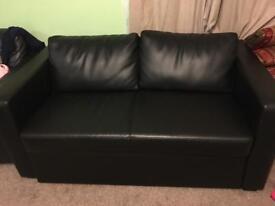Leather sofa bed storage