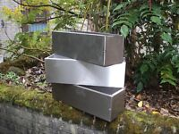 3 stainless steel planters