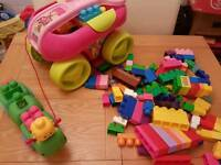 Mega blocks collection with pink wagon and pull along caterpillar