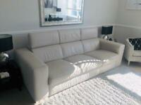 Excellent real Italian dfs leather double sofa bed