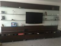 Late TV Wall unit. 6 pull out drawers & under cabinet storage.Display Shelves. Collection only