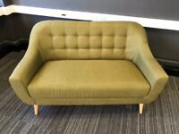 Hygena Lexie Retro Fabric Sofa 2 Seater Olive Green - Excellent Condition