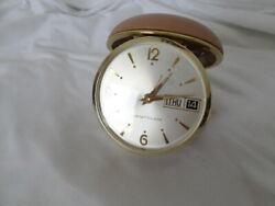 Vintage Working  WESTCLOX Round Brown  Folding Wind Up Travel Alarm Clock