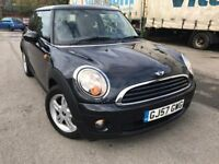 57 plate - BMW Mini Cooper - Black - 1.4 Petrol - year mot - part service history - 2 former keepers