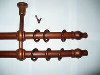 Curtain Wooden Pole Wood Rail Rod Complete Set Window