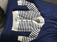 White with blue strip cardigan boys age 6 good as new hardly worn