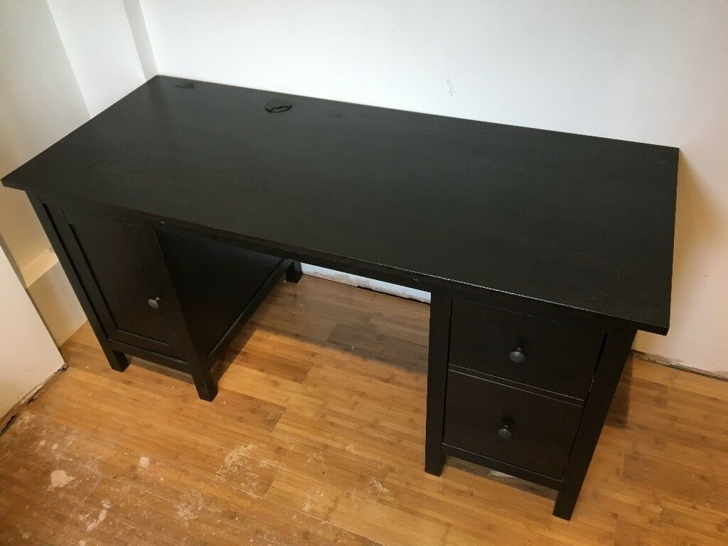 Ikea Hemnes Black Desk With Drawers And Cupboard 155x65cm